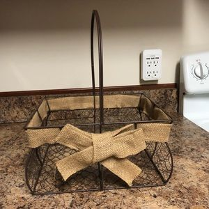 Metal basket with burlap bow